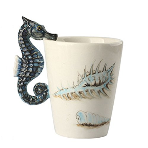 3D Handmade Hand Painted Creative Art Coffee Mug Ceramic Milk Cups Travel Mug Ocean Style with Seahourse (Hand Painted Coffee Cup)
