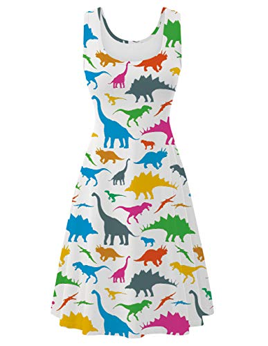 Fanient Women's Midi Dress Dinosaur Casual Sundress Fashion A Line Scoop Neck Sleeveless Dress XL -