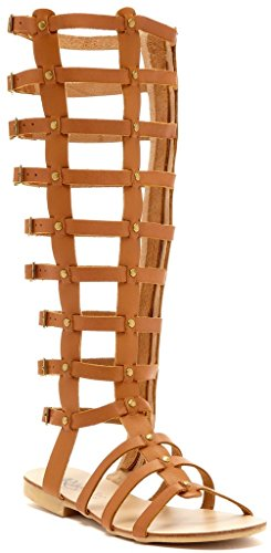 Womens Studded Gladiator Design (Modern Rebel Arisong Womens Fashion Studded Gladiator Sandals, Cognac, Size 8, US)