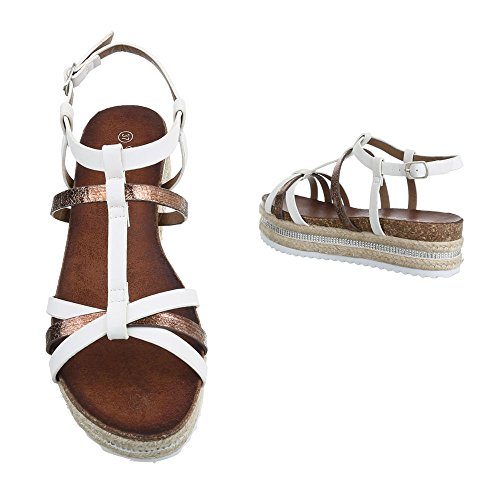 Ital-Design - Sandalias de vestir de Material Sintético para mujer Weiß