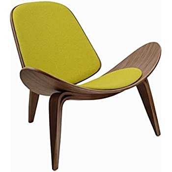 Ordinaire Design Tree Home Hans Wegner Shell Chair Replica, Walnut Plywood And Yellow  Upholstery