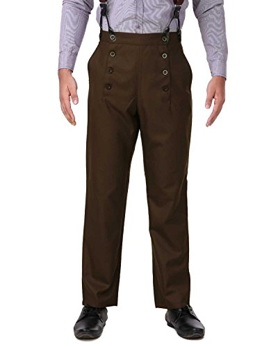 (ThePirateDressing Steampunk Victorian Cosplay Costume Architect Men's Pants Trousers C1328 - Espresso (Poly Viscose Fabric) -)