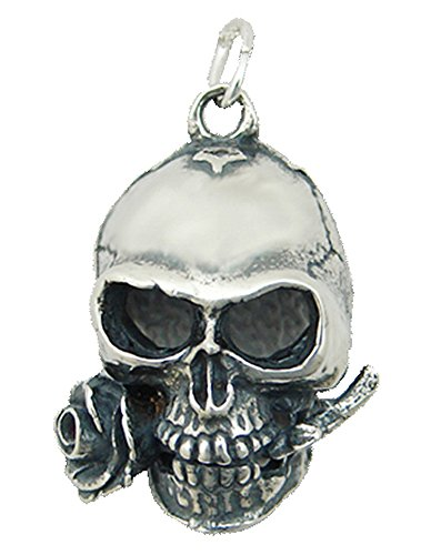 (Sterling Silver Skull and Rose Pendant...Heavyweight)