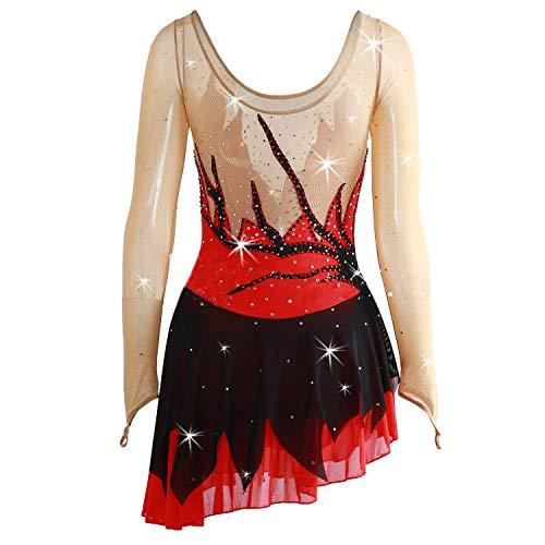 Haute Rouge FemmesCostume De Cristaux Manches Pour La Noir Compétition Artistique Qualité Les À Des Glace Filles Et Longues Robe Sur Patinage Main Avec eH29bWDEIY