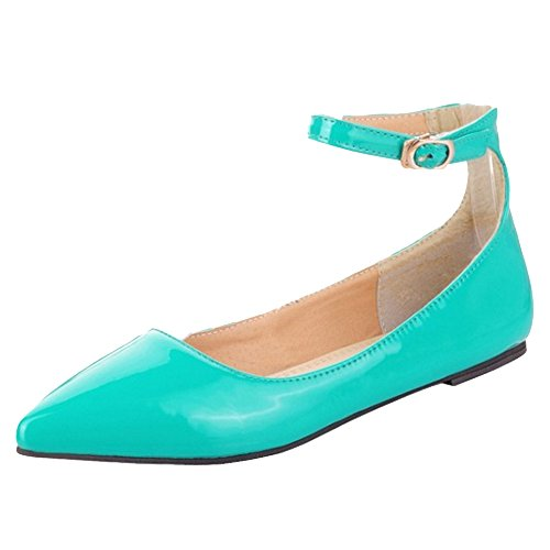 TAOFFEN Women's Ankle Strap Court Shoes Green