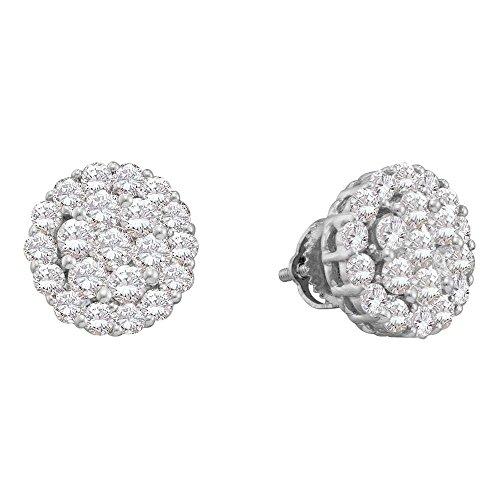 Roy Rose Jewelry 14K White Gold Ladies Diamond Cluster Screwback Stud Earrings 2 Carat tw 2ct Tw Diamond Setting