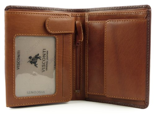 amp; VISCONTI Gift by Brown WALLET Top Stylish Torino LEATHER Quality Tan MENS Collection Boxed xFZq7xT