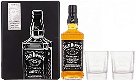 Jack Daniel's Tennessee Whiskey 40% - 700 ml in Tinbox with Rocking glasses
