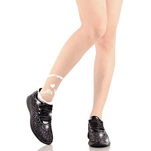 up Sneaker Womens Metallic Blackv2 Platform Slip Sparkle Fashion Wedge Glitter Lace On Glitter IaSFw