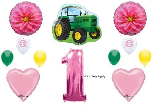 John Deere Mylar Balloon - Gilrl's 1st First Happy Birthday Party Balloons Tractor John Deere-like Decorations Supplies by Anagram