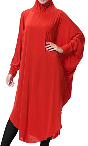 Long Muslim Hooded Sleeve Cromoncent Abaya Women's Dress Solid Plus Size Islamic Red Uxp4wq