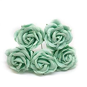 "1.5"" Mint Green Mulberry Paper Flowers Mint Paper Flowers Mint Paper Roses DIY Wedding Decor DIY Paper Bouquet Artificial Flowers Wedding Crafts Home Decorations, 12 Pieces 5"