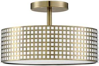 3 Light Semi Flush Mount Ceiling Light 12″ Metal Square Grid Antique Brass Finish