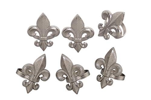 - Handcrafted Fleur-de-lis Metal Napkin Rings for Wedding Party Decoration Dinning Table Occasion Everyday Family Gatherings, Set of 6 - Silver - A Beautiful Emphasize to Your Dining Table décor