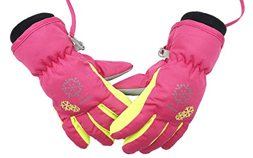 Girls Snowboarding (BeBeFun kids and Toddler warm snow ski Snowboarding winter finger gloves for boys and girls size age 3-5 and 6-8 Pink)