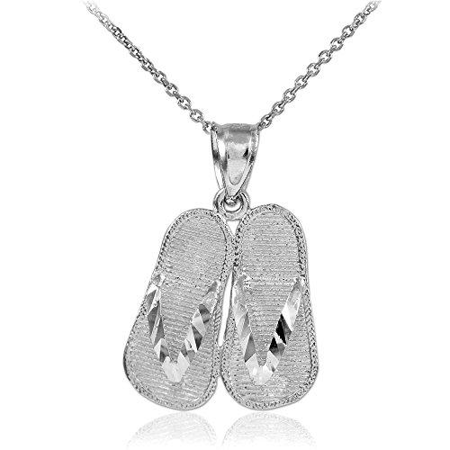 925 Sterling Silver 3d Flip Flops Summer Charm Sandal Pendant Necklace, 18