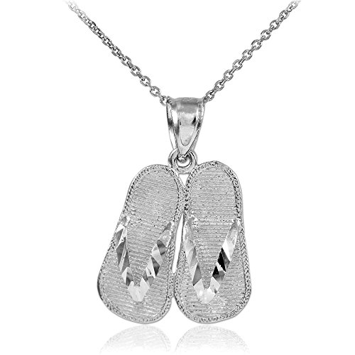 10k White Gold 3D Flip Flops Summer Charm Sandal Pendant Necklace, -