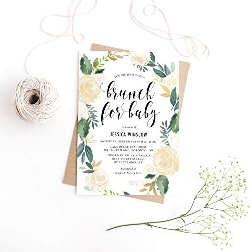 Dozili Floral Baby Brunch Watercolor Pale Peonies Fau Gold Foil Brunch for Baby Invitation -