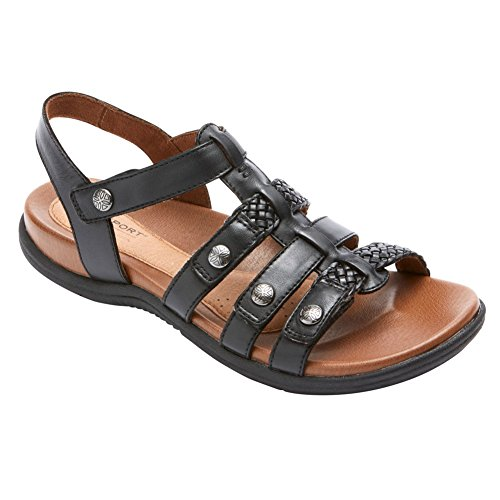 Rockport Cobb Hill Collection Womens Cobb Hill Rubey T Strap Black Leather