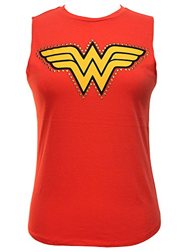 DC Comics Wonder Woman Studded Logo Junior's Muscle Tank Top (Red, Large)