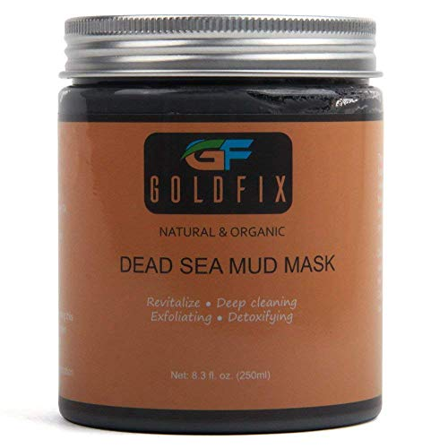 GOLDFIX Dead Sea Beautifying Clay Fiber Mask For Acne, Oily Skin & Blackheads - Best Clay Facial Mask Treatment for Pore Minimizer & Cleansing, SPA Effect. 250 ml. Best -