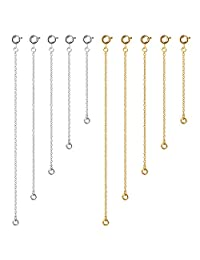Naler 10pcs Extender Chains, 2/3/4/5/6 inches Stainless Steel Bracelet Necklace Extender Chain with Slingshot Buckle Safety Chain Jewellery, Gold Plated/Silver Plated