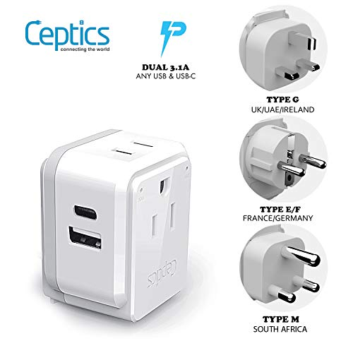 Africa Power Plug Adapter Travel Set Ceptics, Fast Safe Dual USB & USB-C 3.1A – 2 USA Outlet – Compact & Powerful – Use…