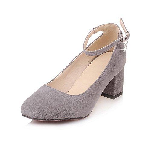BalaMasa Ladies Solid Chunky Heels Round-Toe Urethane Pumps-Shoes Gray f3azCSAI4q