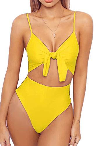 Akihoo Womens Spaghetti Strap Tie Knot Front Cutout High Cut Monikini One Piece Swimsuit Yellow Small