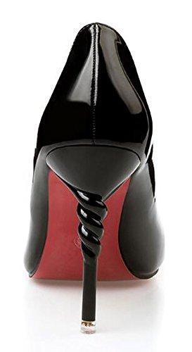 Chfso Womens Classique Stiletto Solide Bout Pointu Bas Top Slip Sur Le Milieu Du Talon Travail Pompes Chaussures Noir