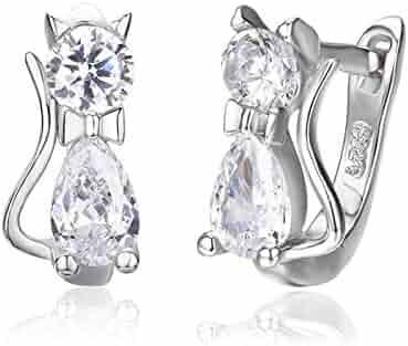 ce2f24ae2 8Ninegift Cute Kitty Kitten Cat CZ 925 Sterling Silver Gatos Small Loop  Huggies U Hoop Earrings