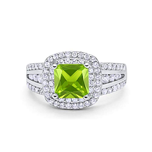 Blue Apple Co. Halo Art Deco Wedding Engagement Ring Princess Cut Round Simulated Peridot Cubic Zirconia 925 Sterling Silver Size-5