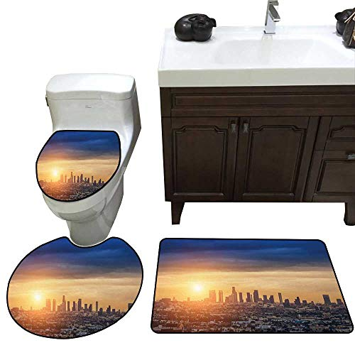 John Taylor City Bathroom Rug Set Sunrise at Los Angeles Urban Architecture Tranquil Scenery Majestic Sky bathmat Toilet mat Set Navy Blue Apricot Ivory