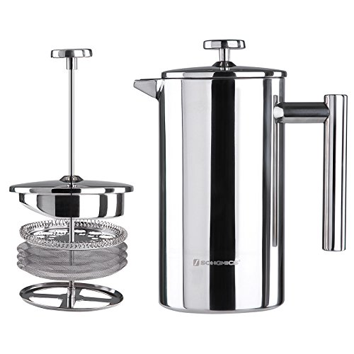 SONGMICS Stainless Steel French Press Coffee Maker 8 Cup 34oz, 3 Filter Screens, 18/8 Stainless Steel Double-Wall for Hot (1000ml) UKFP10S by SONGMICS