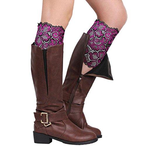 Calcetines De Invierno, Egmy Warm Mujer Stretch Lace Bota Leg Cuffs Soft Calcetines De Arranque Purple