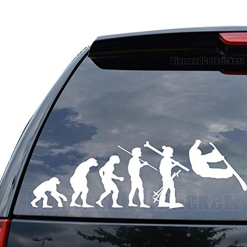 DiamondCutStickerz Theory of Evolution Snowboarding Snowboard Decal Sticker Car Truck Motorcycle Window Ipad Laptop Wall Decor - Size (09 inch / 23 cm Wide) - Color (Matte White)