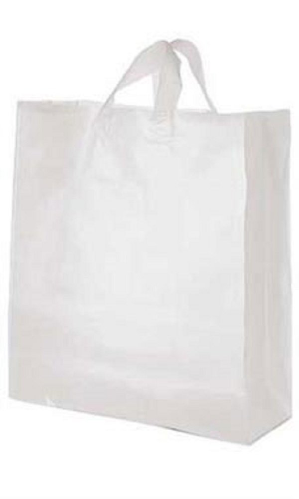 16 x 6 x 19 inch Clear Frosted Plastic Shopping Bags - Case of 200