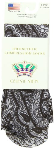 Celeste Stein Therapeutic Compression Socks, Black Paisley Fountain, 8-15 mmhg, .6 -