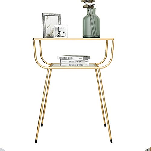 ZHIRONG Tempered Glass Side Table Modern Northern Europe Living Room Iron Art Sofa Corner Table Bedroom Bedside Table Storage Table,19''x12.9''x23.6'' (Color : Gold)