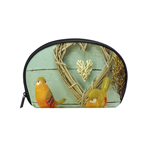 Cosmetic Bag Wicker Heart Valentine's Day Concept Girls Makeup Organizer Box Lazy Toiletry Case