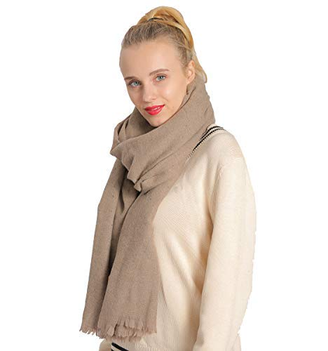 Beige NovForth Cashmere Scarf Blanket Large Soft Pashmina Shawl Wrap Winter Extra Large(31.5 x78.5 ) Wool Scarf for Womens Girls