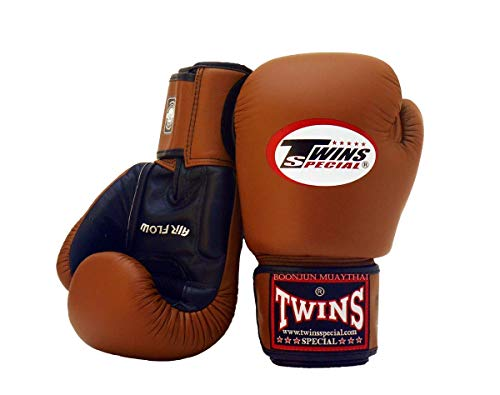 Twins Special Muay Thai Boxing Gloves BGVLA 2 Air Flow Gloves. Univesal Gloves for Training or Sparring. (Black/Brown, 16 oz)