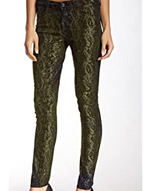 7 For All Mankind Women's Gwenevere Skinny Jeans in Metallic Black Shimmer