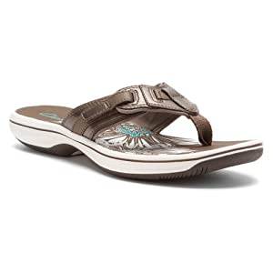 Clarks Women's Breeze Flurry Sandal,Pewter,7 B US from Clarks