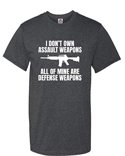 realpeoplegoods Gun Rights Shirt - Second Amendment Tee - Gun Nut - I Don't Own Assault Weapons Black Heather