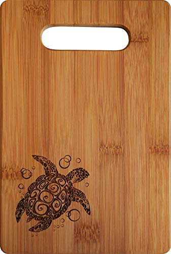 Doodle Gifts Single Tone Bamboo Cutting Board w/handle, Sea Turtle, 6 x 9