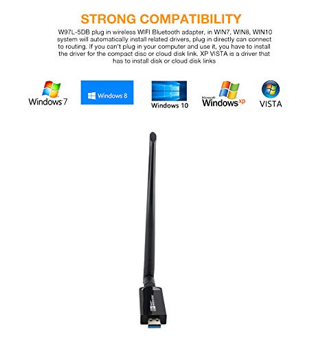 KuWFi Dual Band Bluetooth 4 1 WiFi USB Adapter, Wireless AC 1200Mbps 5GHz  WiFi USB 3 0 LAN Adapter High Gain Antenna Network Card for Windows Linux