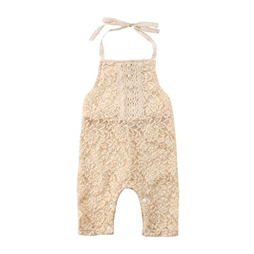 Aliven Newborn Baby Girls Sleeveless Halter Full Floral Lace Romper Bodysuit Clothes Outfits Beige