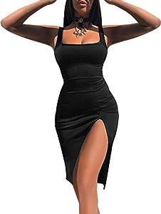 TOB Women's Sexy Bodycon Sleeveless Basic Tank Knee Length Club Dress Side Slit