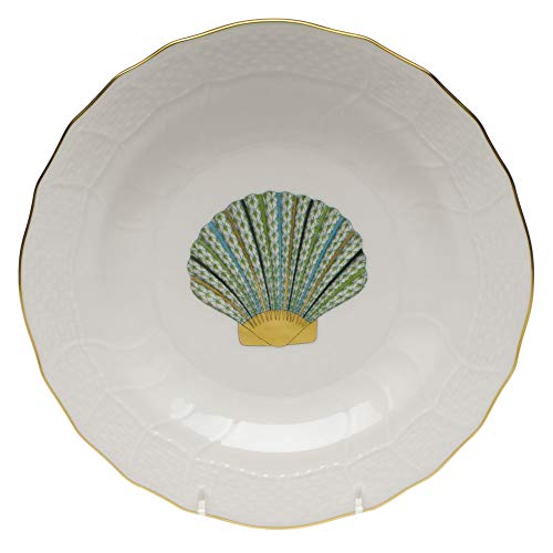 (Herend Scallop Shell Aquatic Porcelain Dessert Plate Green Fishnet)